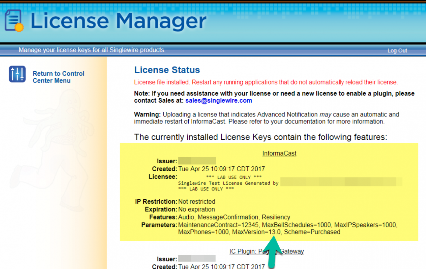 License Manager Status Screen