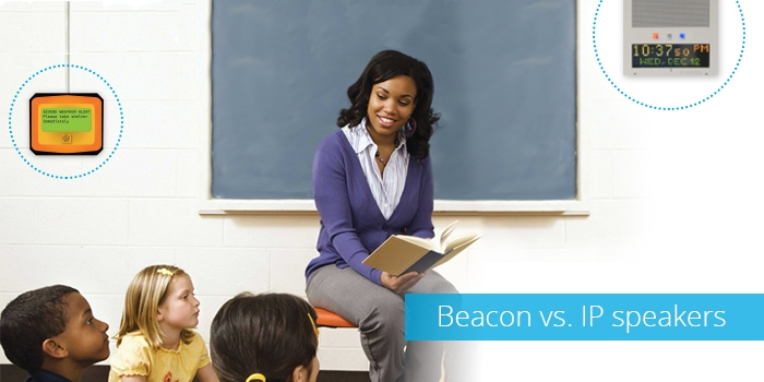 Beacon and IP Speakers for School Text Alert System Software